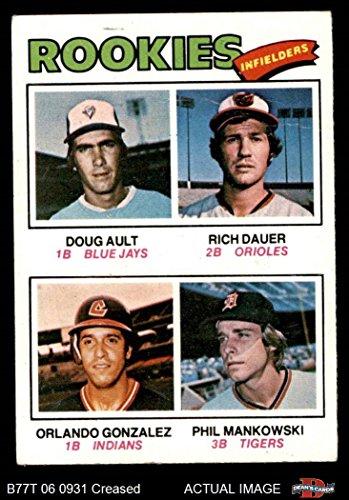 1977 Topps # 477 Rookie Infielders Rich Dauer / Doug Ault / Orlando Gonzalez / Phil Mankowski Blue Jays / Orioles / Indians / Tigers (Baseball Card) Dean's Cards 2 - GOOD Blue Jays / Orioles / Indians / Tigers 1977 Rookie Card