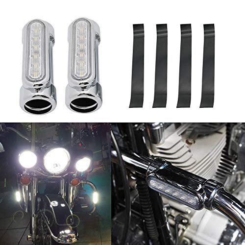 HEQIANG One Pair Silver Chrome Motorcycle Highway Bar Switchback Driving Lights DRL Turn Signal White Amber LED for Crash Bars Harley Davidson Touring Vitory Bikes