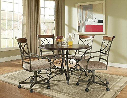 (Powell 697-413M2 5-Pc Hamilton Swivel Dining Set, Medium Cherry)