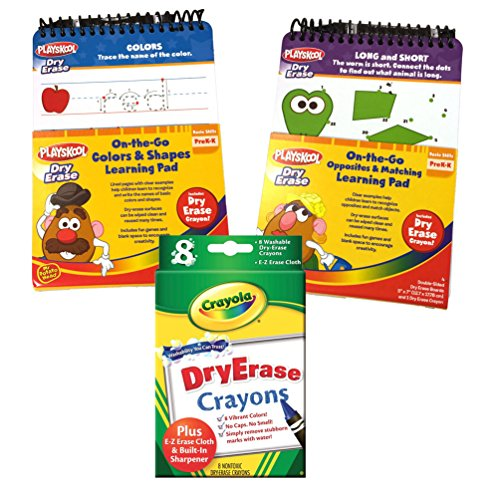 Preschool Prep Wipe Clean Learning Activity Flip Books for Ages 2-4 w/ 8pk Dry Erase Crayons - Opposites/Matching Mrs Potato Head Kit