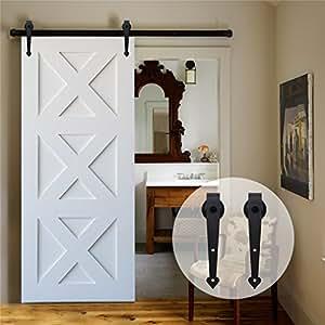 Ccjh 4ft 121cm herraje para puertas kit de accesorios para for Herraje puerta corredera granero