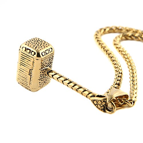 HZMAN Thor Hammer Stainless Steel Necklace For Men and Women Hammer Pendant Necklace 24 Inch Chain, - Plated Charm Gold Truck