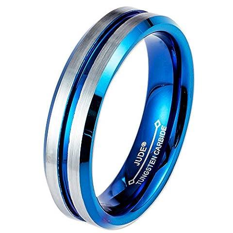 6MM/8MM Blue Tungsten Carbide Ring Wedding Engagement Grooved Matte Brushed (6mm, 5)