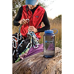 Nalgene BPA Free Tritan Wide Mouth Water Bottle, 32 Oz, Gray with Black Lid