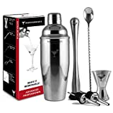 Professional Cocktail Set by BARTENDER SOUL - 25oz 0.8mm Thickness Shaker with Built-In Strainer, Jigger, Muddler, Spoon, Pourers and Recipes - All 18/8 Quality Stainless Steel Kit