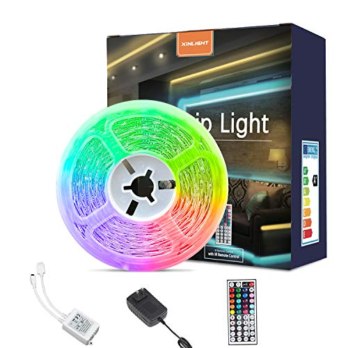 LED Strip Lights, 16.4ft RGB Color Changing Light Strip Kit with Remote and Control Box for Room,Bedroom, TV, Cupboard Decoration, Bright 5050 LEDs, Easy Installation