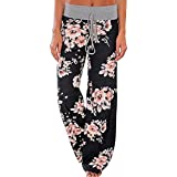 AceIce Women's Comfy Stretch Floral Print Lounge Pants Casual Drawstring Palazzo Pants Wide Leg Pajama Pants (Black, Tag S= US 2-4)