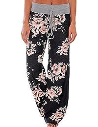 Women's Comfy Stretch Floral Print Lounge Pants Casual Drawstring Palazzo Pants Wide Leg Pajama Pants