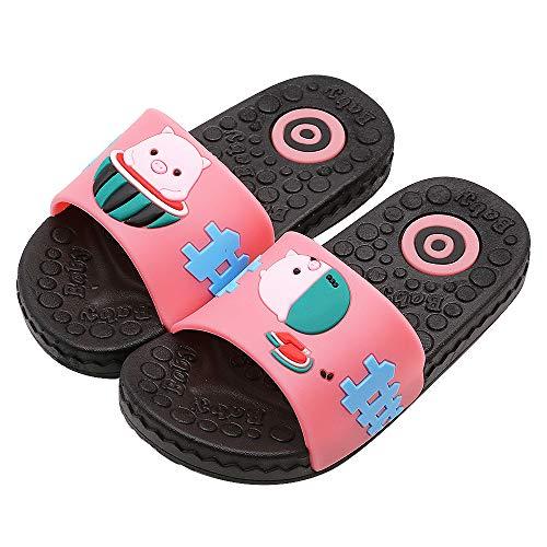 Namektch Boys Girls Summer Sandals, Anti-Slip Slide Lightweight Beach Water Shoes Shower Pool Home Slippers for Toddler Little Kids (12 Little Kid, Pink Pig)