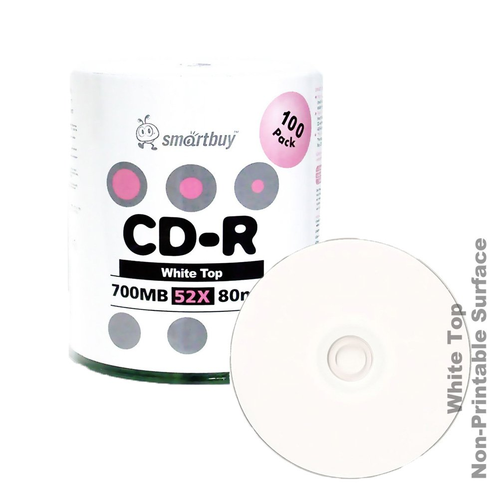 Smart Buy White Top CD-R 100 Pack 700mb 52x Blank Recordable Discs, 100 Disc, 100pk