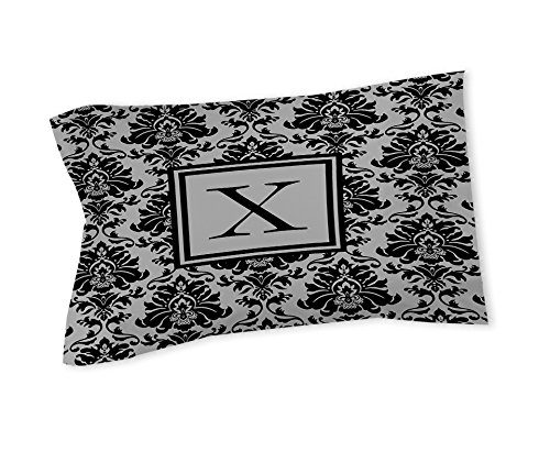 Manual Woodworkers & Weavers Pillow Sham, King, Monogrammed Letter X, Black and Grey Damask