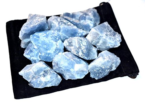 Zentron Crystal Collection: Blue Calcite All Natural Rough Bulk Stones and Velvet Pouch (1/2 Pound) Crystal Blue Collection