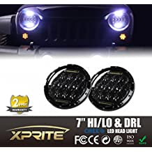 "Xprite 7"" Inch Round 75W 9600Lm CREE LED Headlights With Halo Ring DRL For Jeep Wrangler JK TJ LJ 1997-2016"