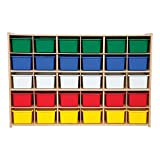 Sprogs 30-Tray Wooden Storage Unit - Unassembled With Colorful Trays, SPG-71243