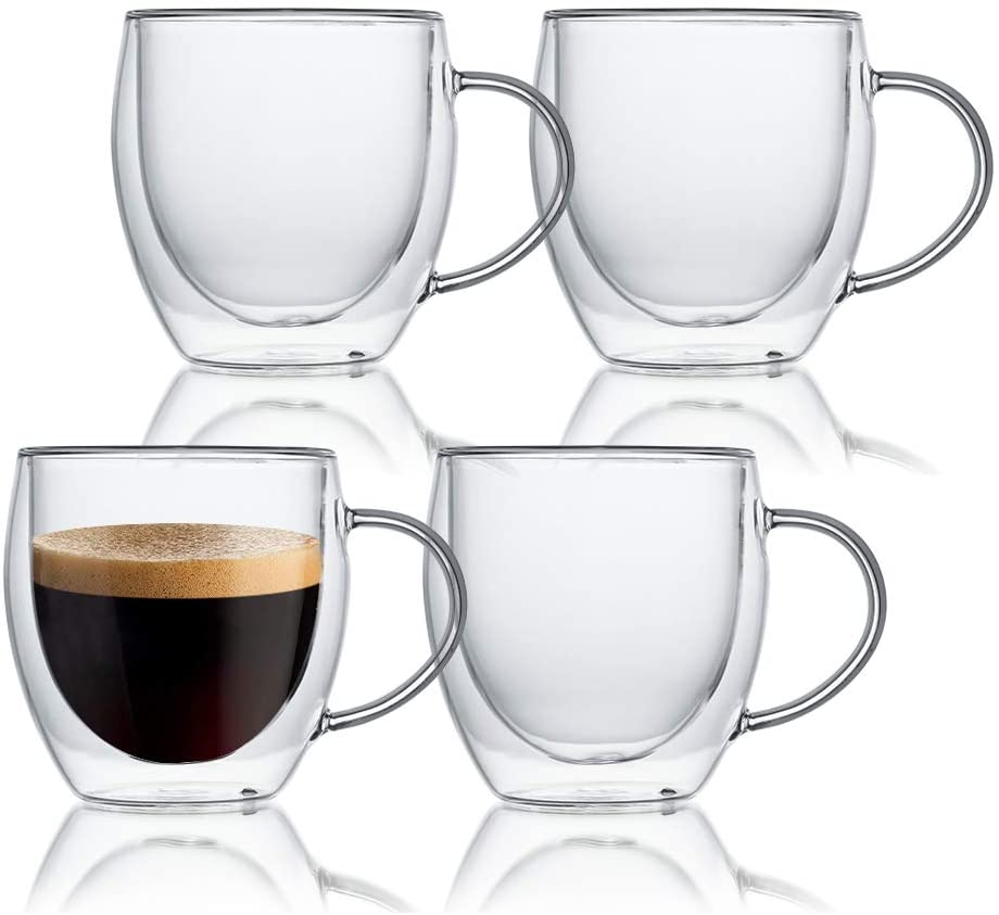 KitchenTour Insulated Coffee Mug 8 oz- Double Wall Glass Coffee Cup with Handle Set of 4 - Clear Glass Drinkware for Espresso,Cappuccino, Latte,Hot Beverages