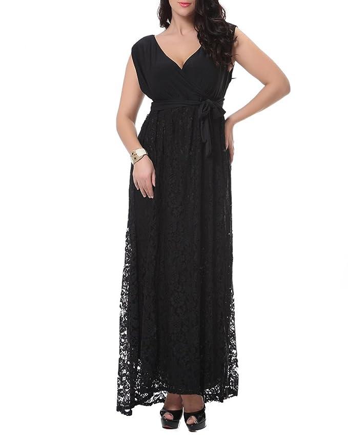 3993983cf2 ZhuiKun Mujeres Talla Grande Vestidos Largos Sin Mangas Vestidos de Encaje   Amazon.es