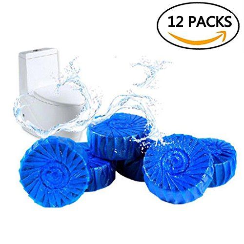 4home Automatic Toilet Bowl Cleaner – Blue Drop-In Antibacterial Cleaning Tablets, 12 Pack ()