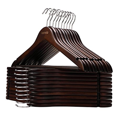 VEEYOO Solid Wooden Suit Hangers (Set of 20) - Non-slip Bar & Extra Thick Chrome Hook - Sturdy Durable Coat Jacket Dress Clothes Hangers, Retro Finish by VEEYOO