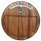 "Round Wood Cutting Board w/ Metal Crab Shack & Crab Motif - 13""D"