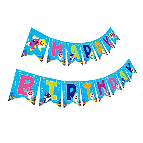 Gyzone Baby Shark Birthday Garland Banner Supplies for Kids and Adults Birthday Party Decorations Party Supplies (Baby Shark)