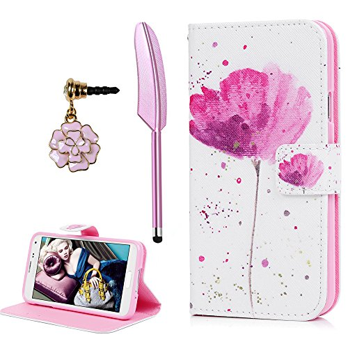 Price comparison product image YOKIRIN Galaxy S5 Case, Printed Pink Lotus Magnetic Flip Stand Case Premium Leather Soft TPU Bumper Card Holders Shockproof Protective Cover for Samsung Galaxy S5 i9600 with Dust Plug & Stylus Pen