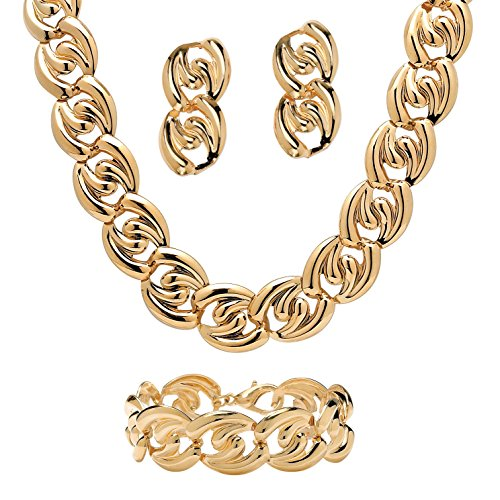 (Yellow Gold Tone Curb-Link Necklace, Bracelet and Drop Earrings 3-Piece Set 18