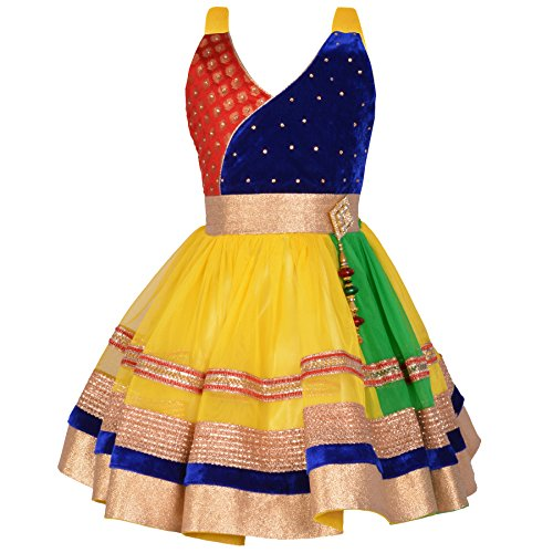 Aarika Girl's Gold Self Design Party Wear Frock (FK-4216-GOLD_32_9-10 Years) by Aarika