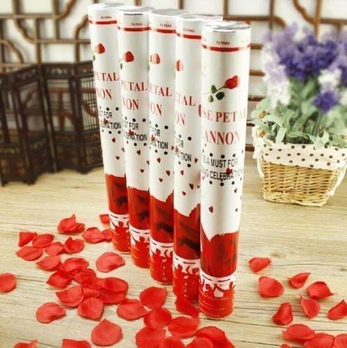 10 Rosen Regen 40cm Konfetti Shooter mit Roten Rosenblüten Party Popper Glänzend Rosenblätter Konfettikanone und Highlight vor dem Standesamt, der Kirche bei der Hochzeitsfeier