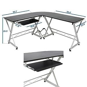 Solid Wood Laptop Computer Desk Corner PC Table Workstation Home Office Decor Furniture/ Black #1037