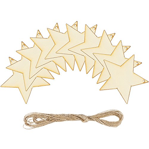 - Coobey 20 Pieces Wooden Star Hanging Christmas Ornaments with Twine for Festival Decoration,DIY Project or Wedding