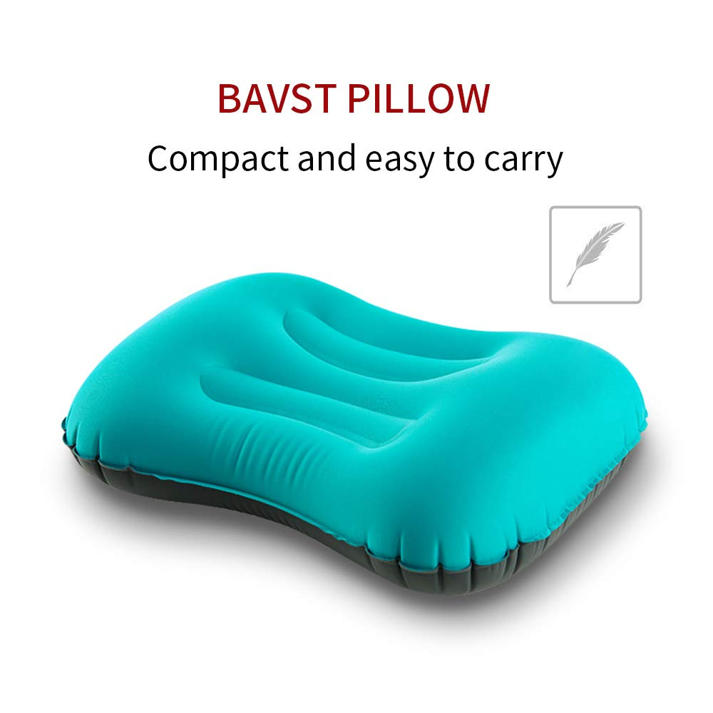 BAVST Inflatable Camping Pillow -Well Sealing - Compact to Carry - Compressible Neck Lumbar Support for Sleeping While Hiking,Travel,Camp,Home-Both Adults and Kids