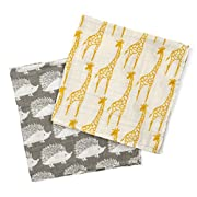 Milkbarn Organic Cotton Burp Cloths  Yellow Giraffe/Grey Hedgehog