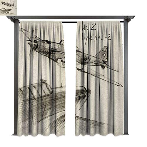 shenglv Airplane, Outdoor Blackout Curtains, Hand Drawn Series Soviet Military Enginery Jets Flights World War Aviation Sketch, Outdoor Privacy Porch Curtains (W108 x L108 Inches, Black Ecru)