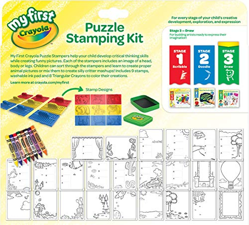 51sO23 C3DL - Crayola My First Animal Stamper Set, Coloring & Learning Toys for Toddlers, Toddler Gift, Over 40 Pieces