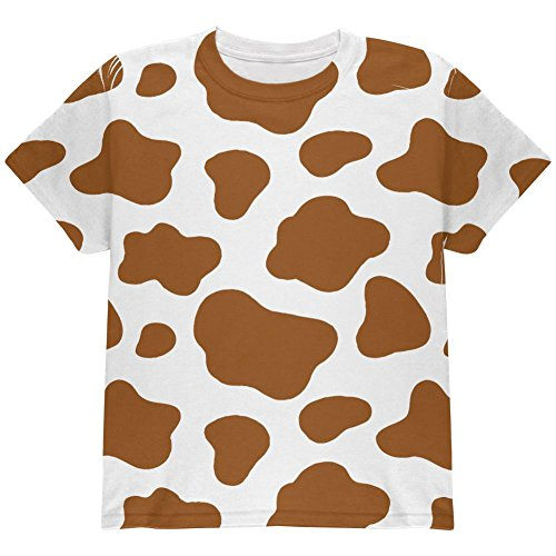 Halloween Costume Brown Spot Cow All Over Youth T Shirt Multi YMD Spot Youth T-shirt