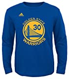 Stephen Curry Youth Golden State Warriors #30 Name and Number Long Sleeve T-shirt (Royal, Youth Medium 10/12)