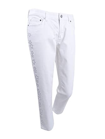 2147b68afa42 MICHAEL Michael Kors Izzy Embellished Cropped Skinny Jeans (White, 14) at  Amazon Women's Jeans store