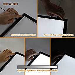 Tracing Light Box, A4 LED Artcraft Tracing Light Pad Light Box For Artists, Drawing, Sketching, Animation, 9.4x14 Inch Light Pad