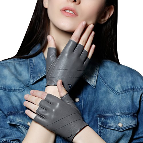 Fioretto Womens Genuine Leather Half Finger Gloves Handmade Artwork with Color Contrast Embroidery Light Gray Size M
