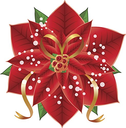 Red Poinsettia with Golden Ribbon Vinyl Decal Sticker (8