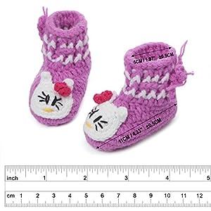 Dealzip Inc Unisex Boy Girls Baby Newborn Infant Hand Knitting Crochet Pink-Purple Shoes Socks Boots Cute Cat Design