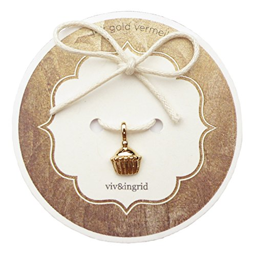 14k Gold Vermeil Cupcake Charm on Keepsake Card