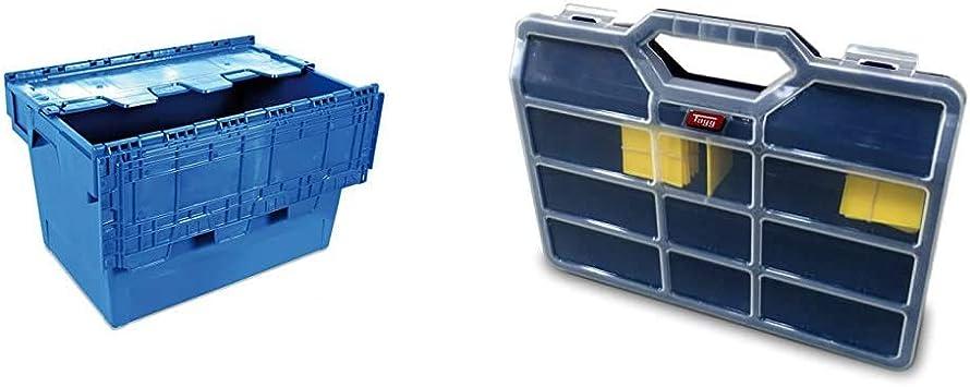 Tayg 6434-T Euro-caja con tapa para almacén y transporte, 600x400x340 mm + - Estuche con separadores moviles n.45: Amazon.es: Bricolaje y herramientas