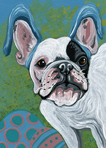 French Pied Bulldog (ACEO Pied French Bulldog Dog Easter Bunny Original Art Miniature Painting-free shipping-Carla Smale)