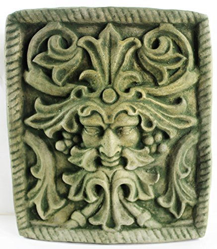 Fleur de Lis Garden Ornaments LLC Green Man Concrete Wall Plaque European Medieval Sculpture Cement Figure Cast Stone Figurine Wall Art Plaque