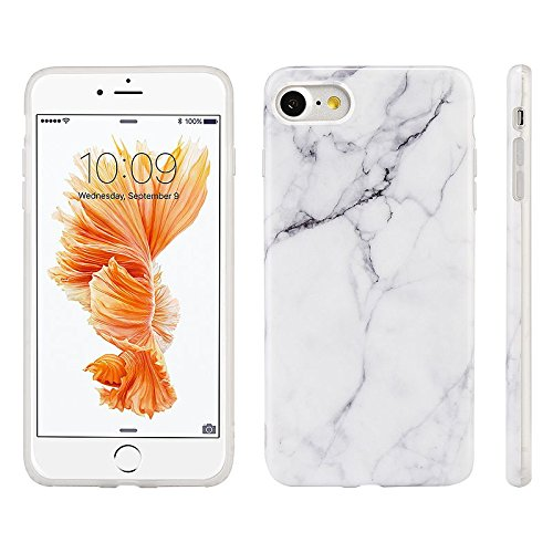 Glass Marble Pressed (Ultra Slim Marble Pattern Rubber Soft TPU Case Cover for iPhone X/6/7/8 Plus (White, iPhone 6))