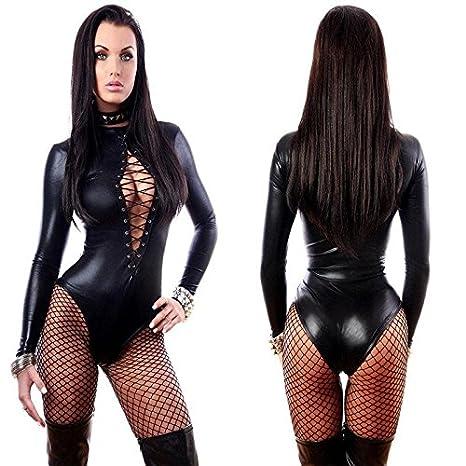 Amazon.com: Digital bebé mujeres sexy negro cuero lencería ...