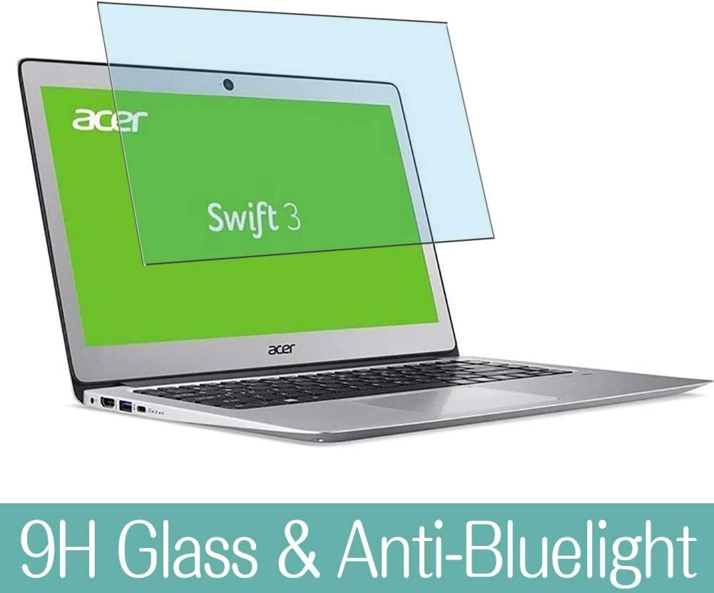 """Synvy Anti Blue Light Tempered Glass Screen Protector for ACER Swift SF314-51 / SF314-52 / SF314-52G / SF314-53G / SF314-54G 14"""" Visible Area 9H Screen Film Protectors (Not Full Coverage)"""