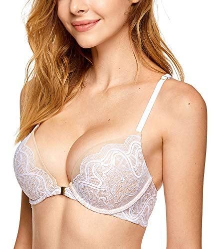 DOBREVA Women's Floral Lace Underwired Push up Front Closure Plunge Bra Add-2-Cups White 36B