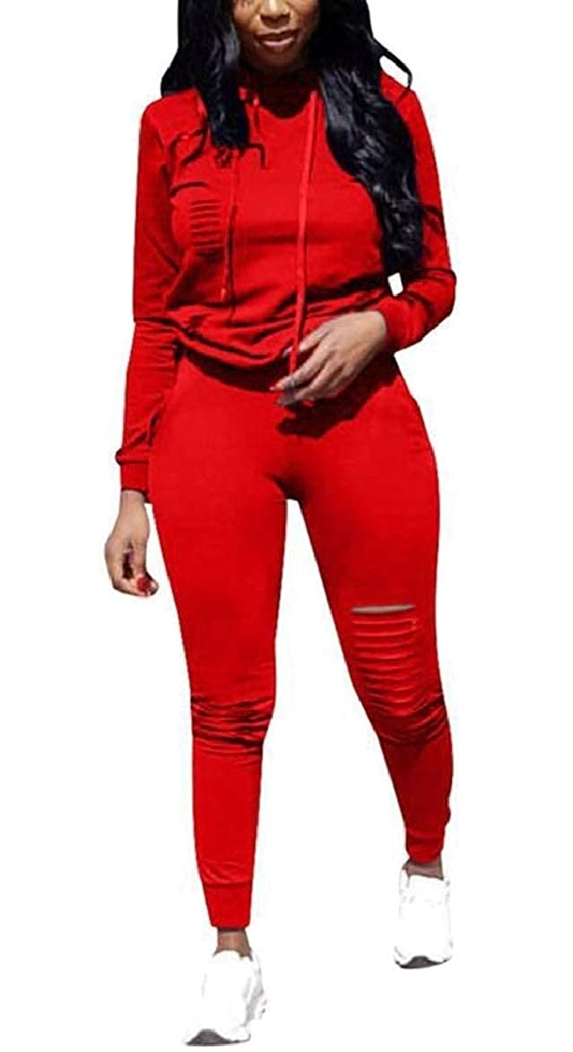 security Womens Solid Long Sleeve Ripped Jogging Hoodie + Long Pants Tracksuit